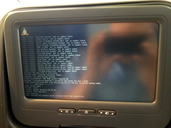 Cathay Pacific entertainment system showing a Linux boot screen