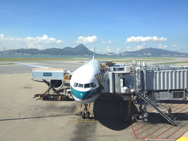 Cathay Pacific Boeing 777ER parked at Hong Kong airport