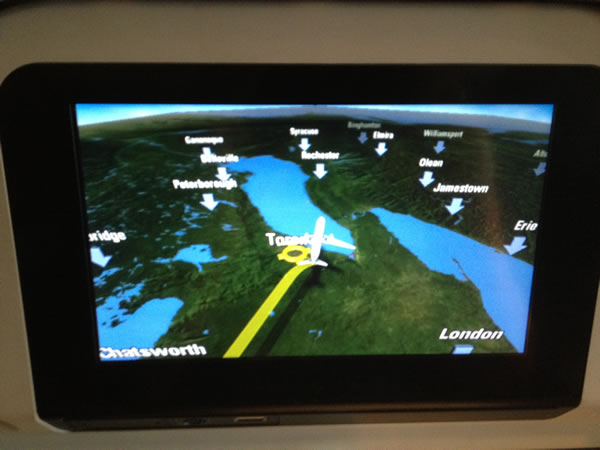 Cathay Pacific entertainment system map showing plane approaching Toronto