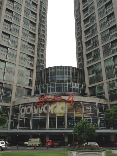View of the front of the Glorietta 4 mall and the Ascott