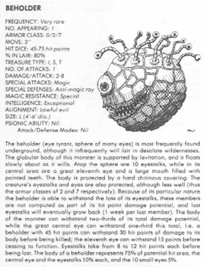 """Beholder"" entry from the original Adavnced Dungeons and Dragons ""Monster Manual"""