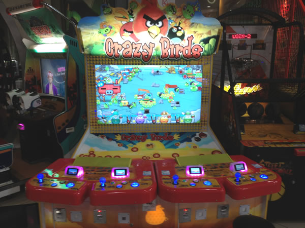 "4-player arcade game called ""Crazy Birds"", which appears to infringe on the Angry Birds trademark and graphics"