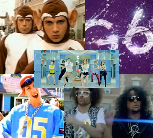 "Montage of stills from the videos for ""Gangnam Style"", ""The Bad Touch"", ""Like a G6"", ""Pretty Fly for a White Guy"" and ""Party Rock Anthem"""