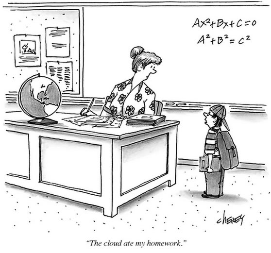 Comic - Schoolboy explaining to teacher: 'The cloud ate my homework.'