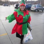 Sara Mercier strikes a jaunty pose in her elf costume
