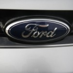 """Ford"" logo plate on the front grill"