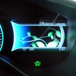 """Efficiency Leaves"" display on dashboard screen, showing a vine with varying sizes of leaves"