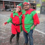 Sara Mercier and Rannie Turingan in elf costumes