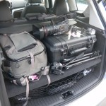 Trunk of the C-MAX, packed with video gear