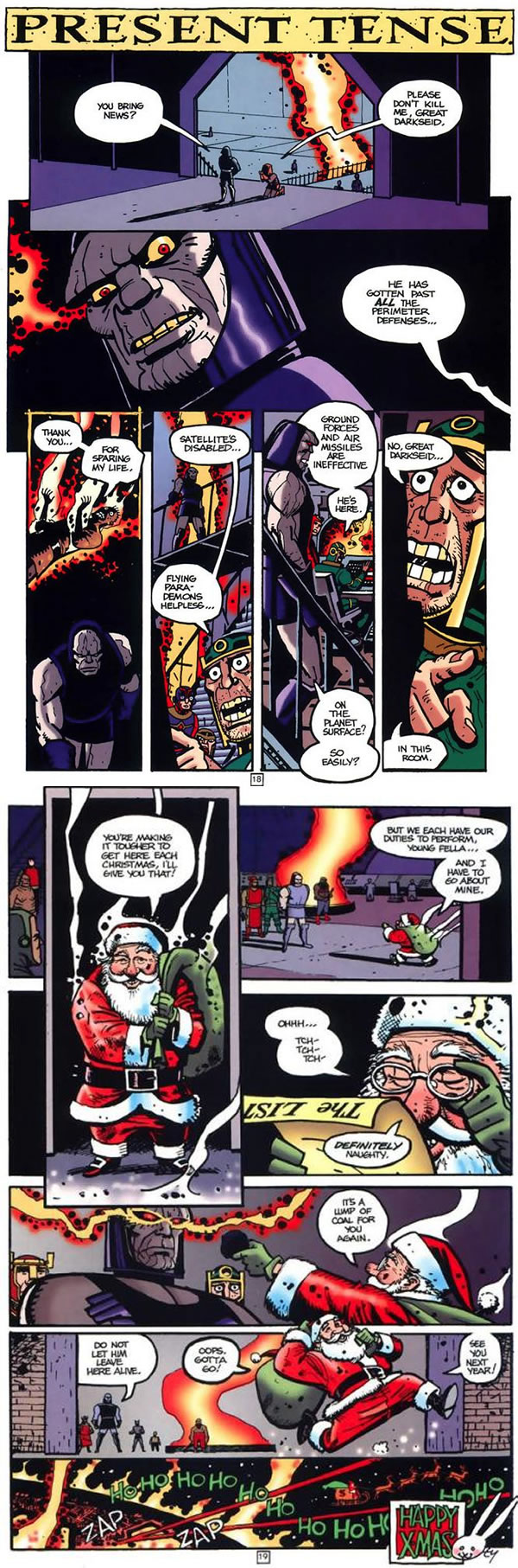 Comic featuring Santa dropping off a present for Darkseid