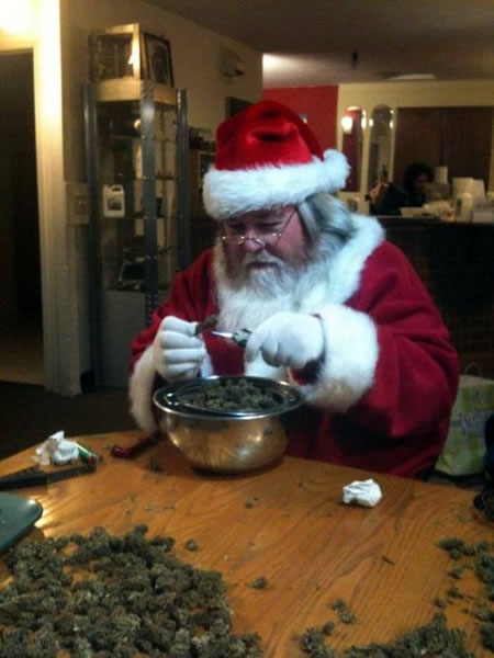 Santa and a whole pile of bud