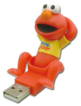"USB key that looks like ""Elmo"" from Sesam Street -- the USB plug is between his legs."