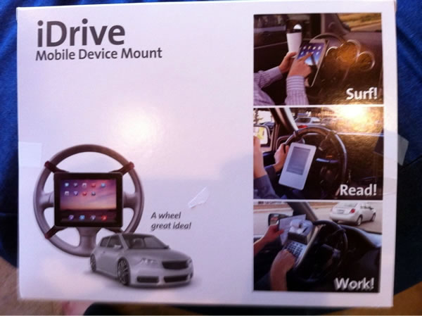 iDrive - Wheel Device Mount: a mounting bracket that lets you attach an iPad or Kindle to your car's steering wheel