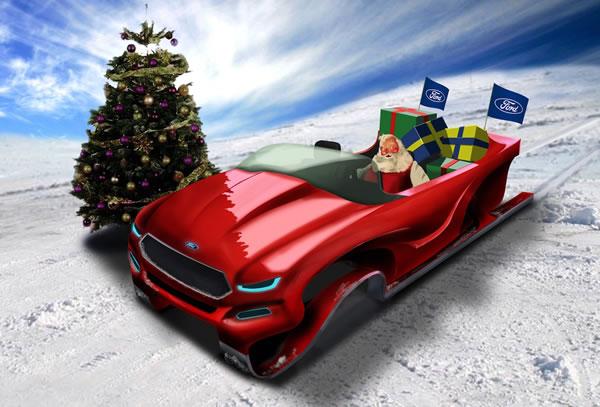 Illustration: Santa driving a Ford sled
