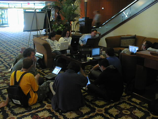 Nerd Hacker Session in the Lobby, ETCon, May 2002