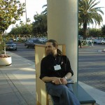 "Bryce ""Zooko O'Whielacronx"" Wilcox as we wait for our lift to Robert Scoble's and Dave Winer's dinner."