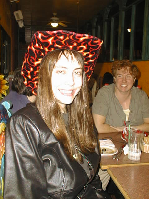 Lisa Rein in my Flaming Cowboy Hat, ETCon, May 2002
