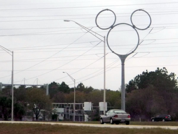 Electrical transmission tower shaped like Mickey Mouse's head