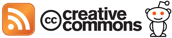RSS icon, Creative Commons logo, Reddit alien