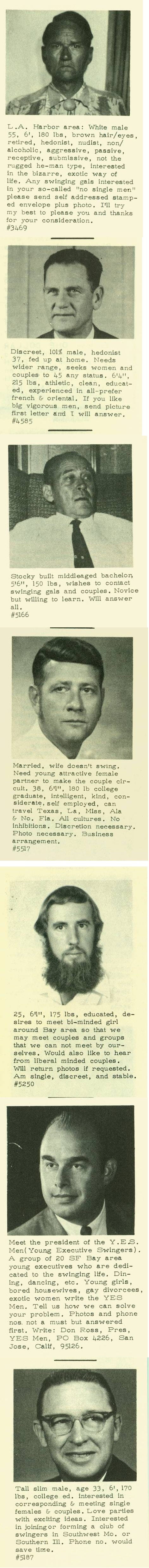 Series of swingers personal ads from the 1960s