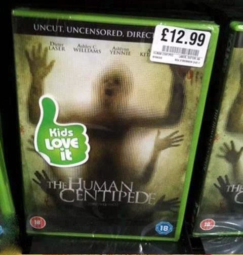 """Case for the """"Human Centipede"""" DVD with the sticker """"Kids Love It"""""""