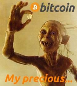 gollum with a bitcoin