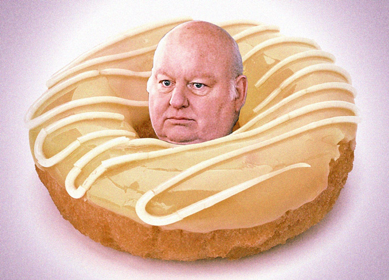 mike duffy in a donut