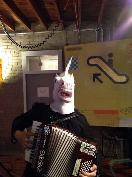 accordion and horse mask head on