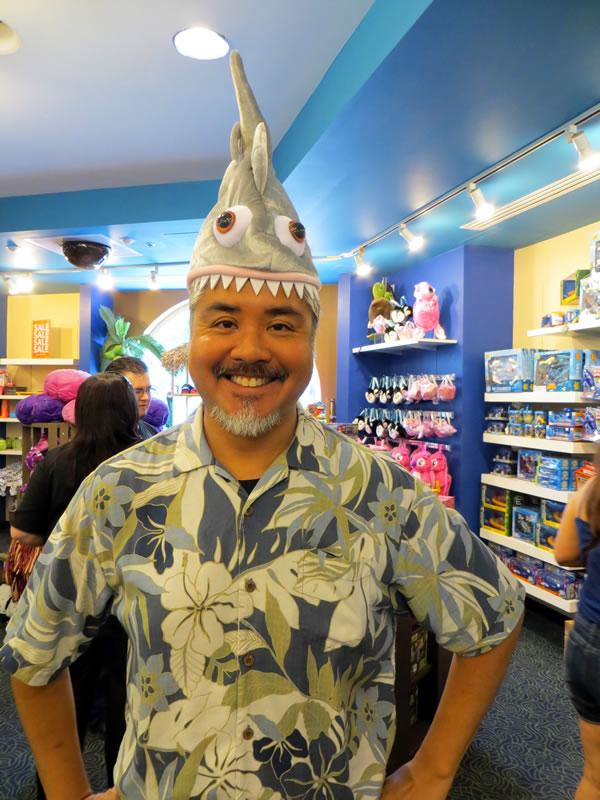 joey devilla in a shark hat