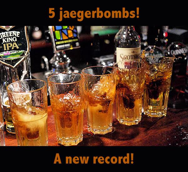 5 jaegerbombs