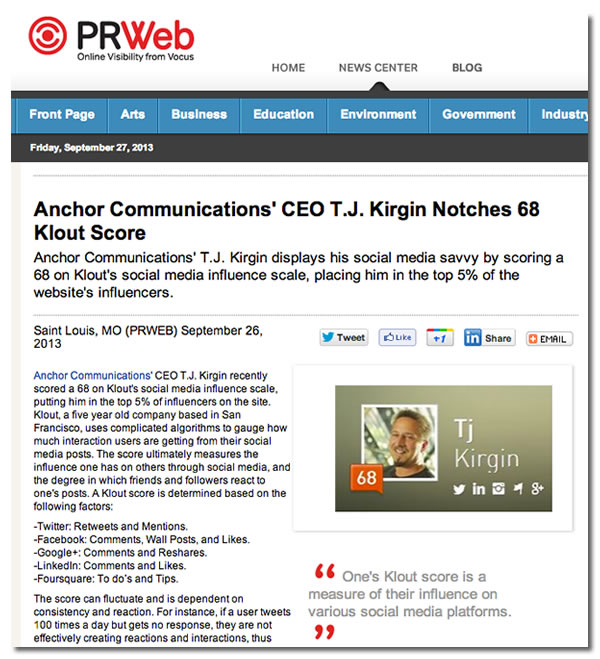 tj kirgin gets 68 klout score