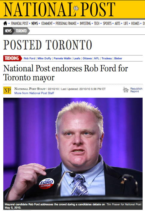 national post endorses rob ford