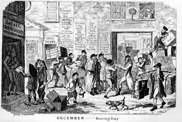Boxing Day: Woodcut illustration of an old British Boxing Day.
