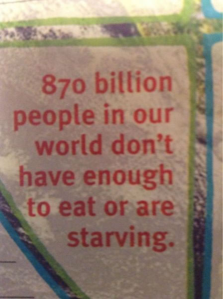 870 billion people dont have enough to eat