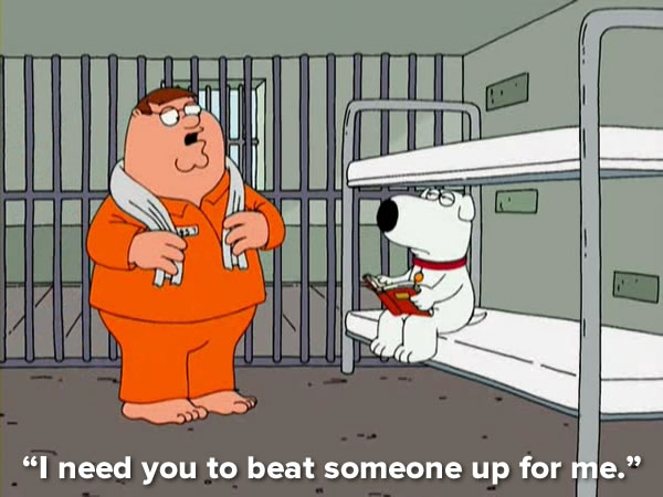 peter griffin and brian in jail