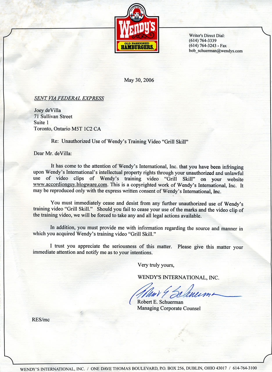Blast from the past my cease and desist letter from the wendys wendys cease and desist thecheapjerseys Image collections