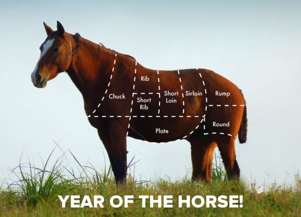Year of the Horse! Photo with overlay pointing out the cuts of meat on a horse: chuck, rib, short rib, short loin, sirloin, rump, round, and plate.