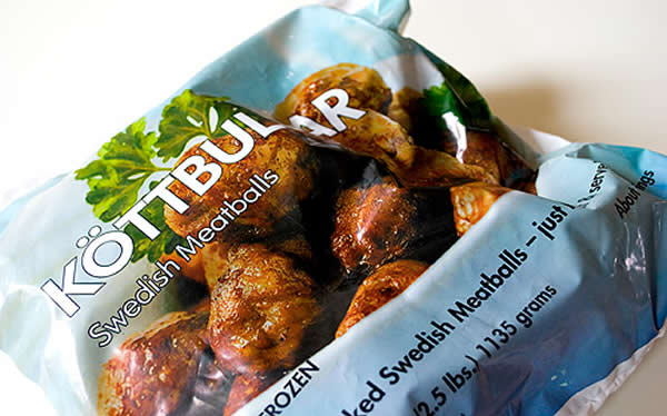 Bag of 'köttbullar', a.k.a. Swedish meatballs, from IKEA.