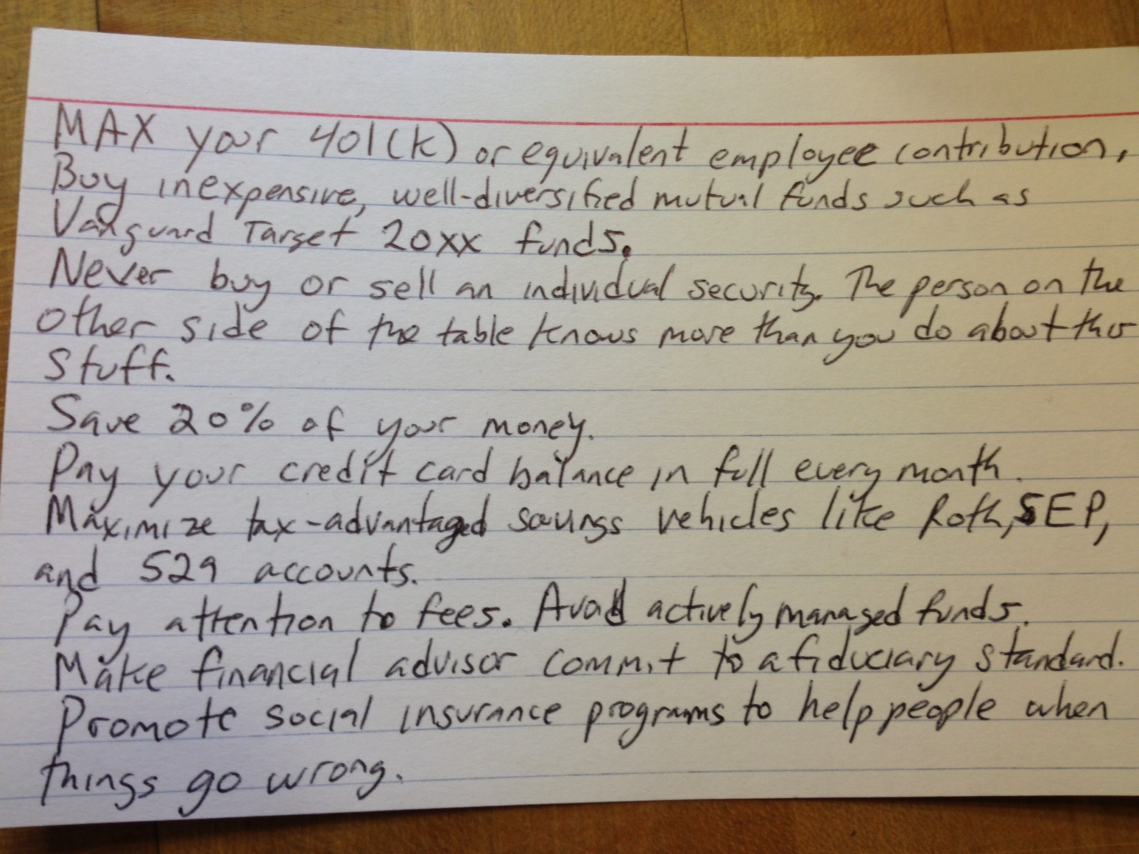 4 by 6 card financial advice