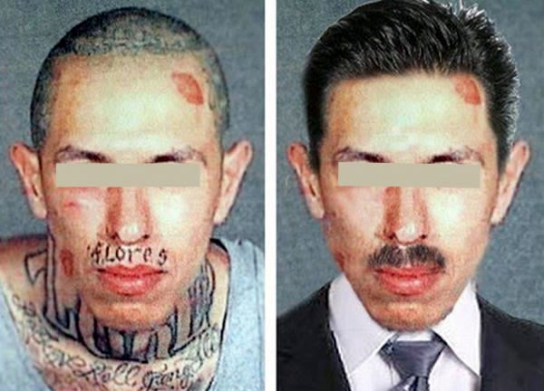 Side-by-side comparison of two mug shots, one with the subject in hoodlum clothing and tattoos showing, the other with the same person in a suit.
