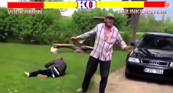 crazy drunk russian street fighters