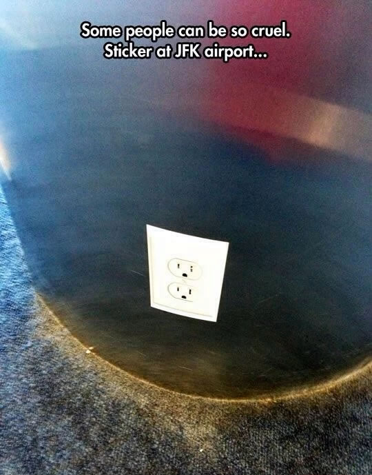 power outlet sticker at jfk