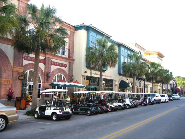 villages - golf carts at day