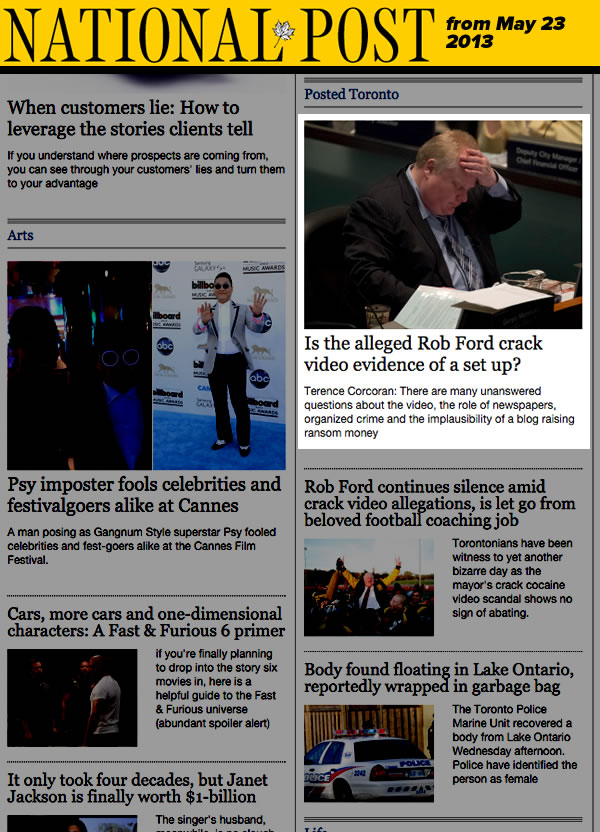 national post suggests rob ford was set up