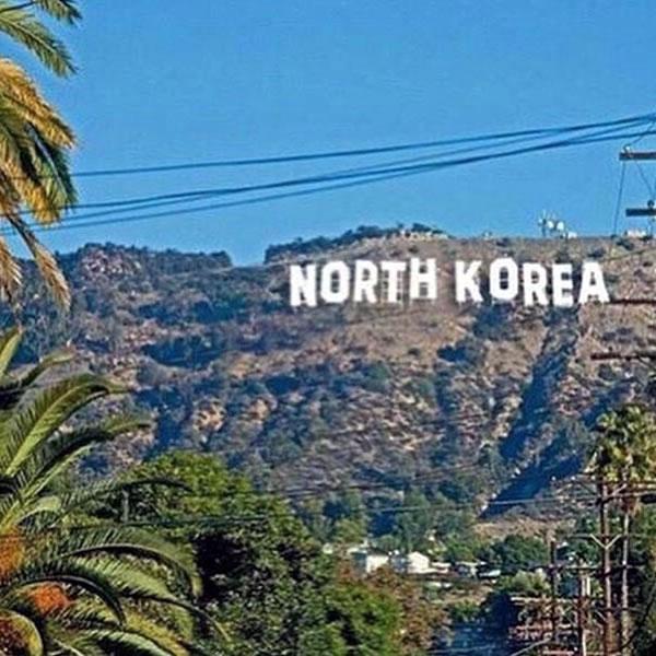 hollywood north korea sign
