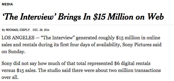 the interview brings in 15 million