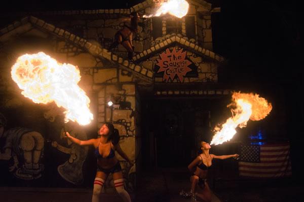 sausage castle fire performance