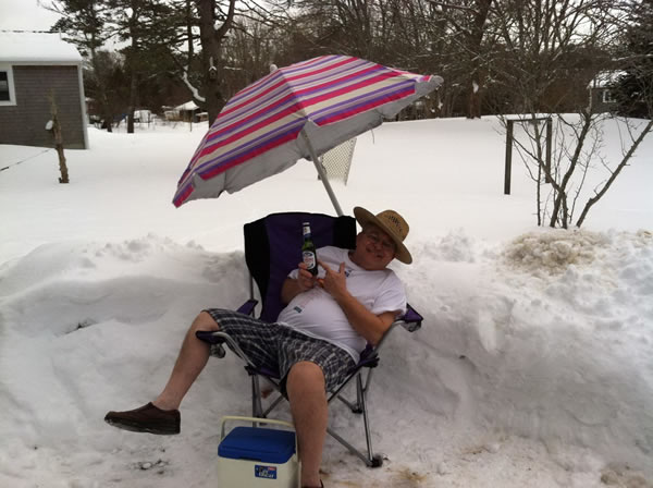 lawnchair in the snow
