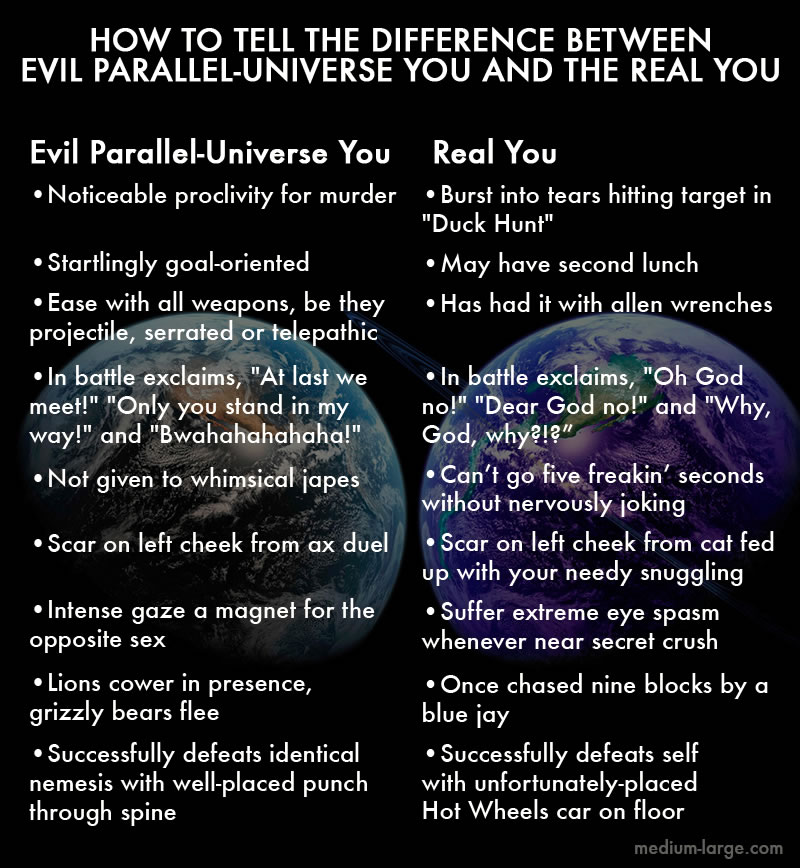 Comparison: How to tell the difference between evil parallel-universe you and the real you