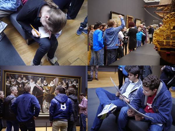 Photo montage: Kids at same museum writing notes, reading field guides, looking at the art
